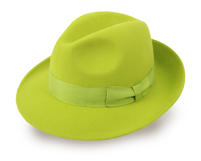 Wool Fedora Hat for Men and Women - Pistachio Green (HKG1/M, L)