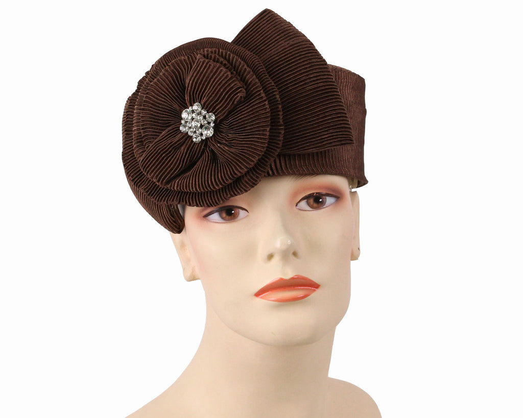 Women's Pill-box Church Hats in Brown