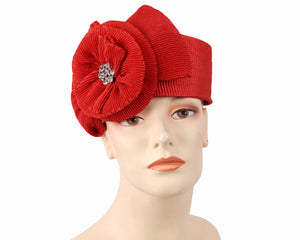 Women's Pill-box Church Hats in Red