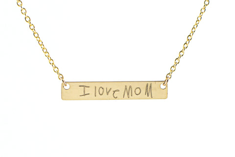 Actual handwriting bar necklace