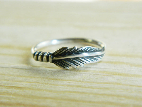 Silver feather ring -  - 4