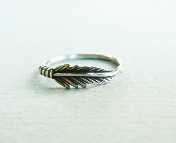 Silver feather ring -  - 2