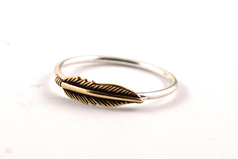 Brass feather ring -  - 1