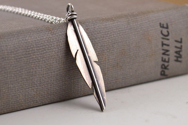Brass feather necklace -  - 3