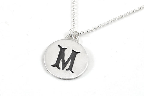 Hand piercing initial necklace -  - 1