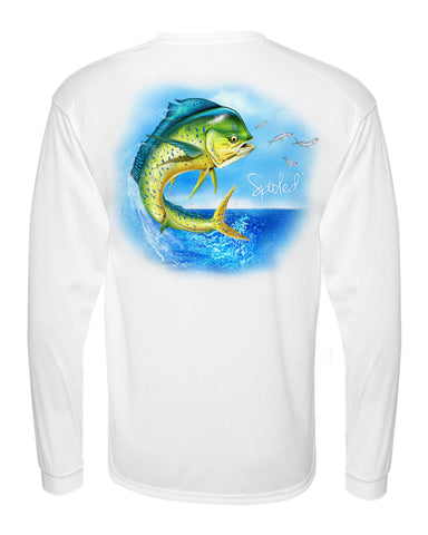 CLEARANCE Performance Long Sleeve White with Spooled Dolphin SPF-30