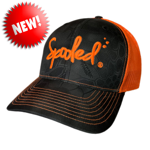 Spooled Safety-Orange Black Kryptek Safety-Orange Mesh Snapbacks