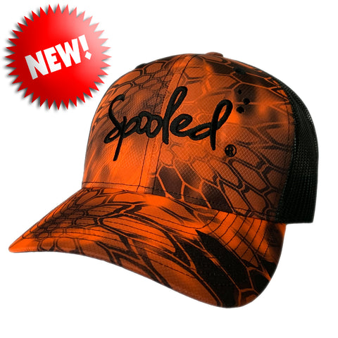 Spooled Black Orange Kryptek Black Mesh Snapbacks