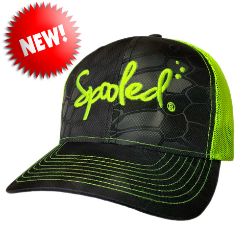 Spooled Safety-Green Black Kryptek Safety-Green Mesh Snapbacks