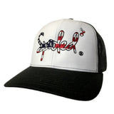 Spooled American Flag Logo White with Black Mesh Snapbacks
