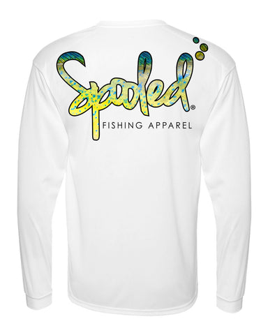 Performance Long Sleeve White with Spooled Mahi Skin Logo SPF-30