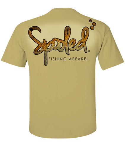Performance Short Sleeve Tan with Spooled Redfish Skin Logo SPF-30