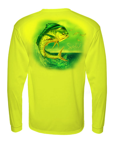 Performance Long Sleeve Yellow with Spooled Mahi SPF-30