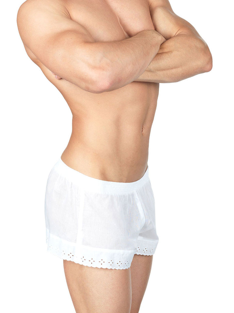 Men's white lace and see through bloomer shorts