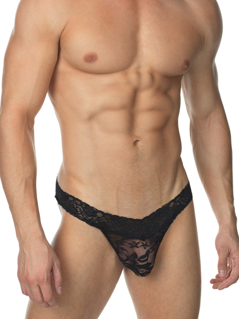 Men's black lace see through mesh thong sissy panties