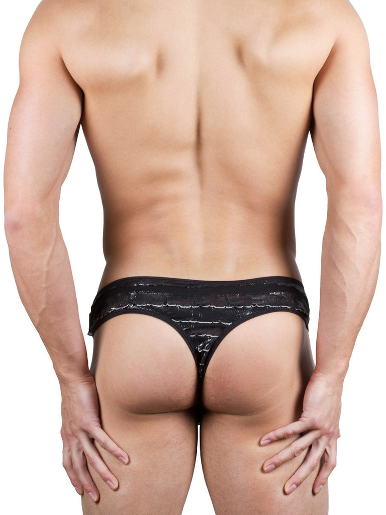 Fluttery Thong -XL ONLY Black
