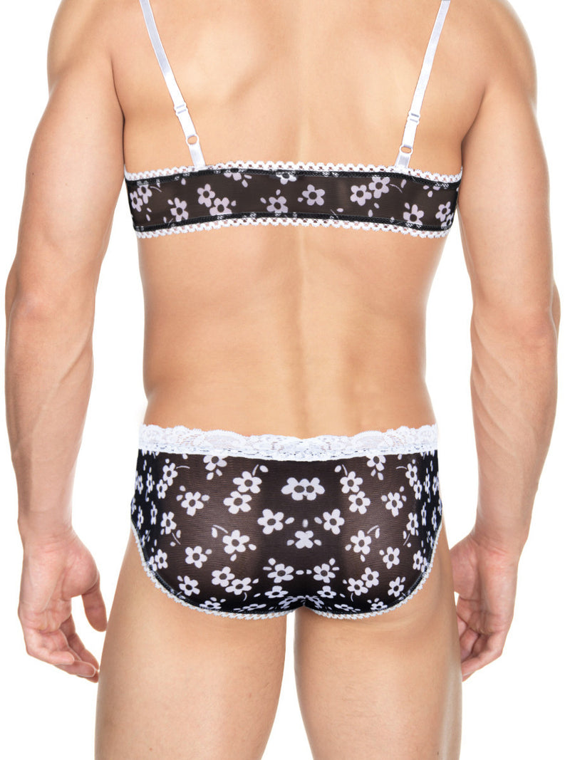 Men's black flower print see through mesh bra