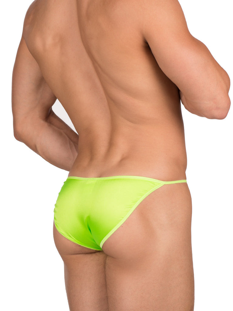men's green silk satin tanga panties underwear