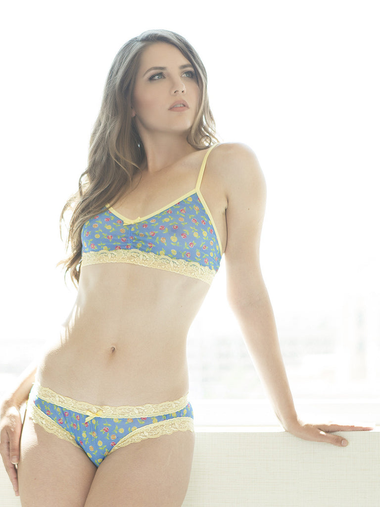 Women's blue and yellow floral patterned mesh see through panties