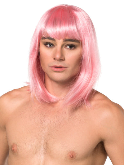Men's pink short bob crossdressing sissy wig