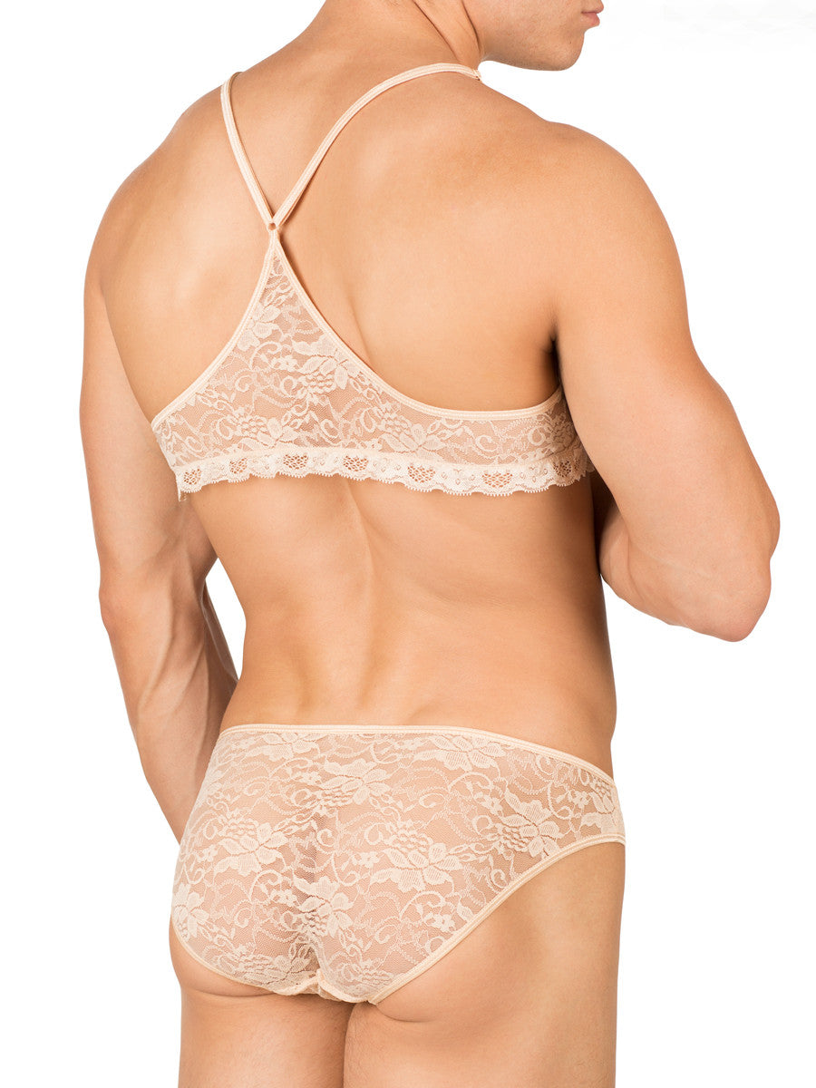 Men's Nude Satin and Lace Crossdressing Bra