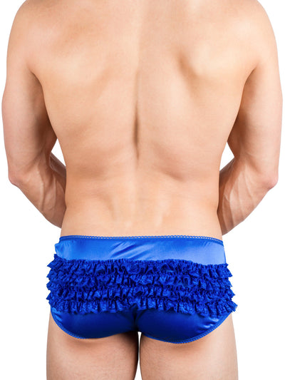Men's blue satin high waist panty
