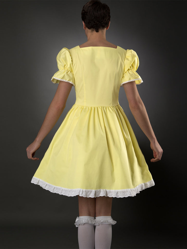 Men's yellow cross dressing teacup frilly dress