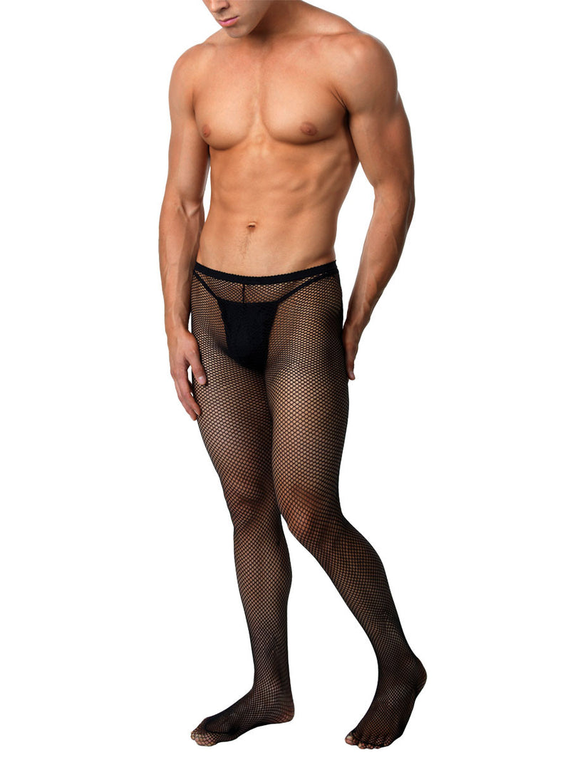 Men's black fishnet tights
