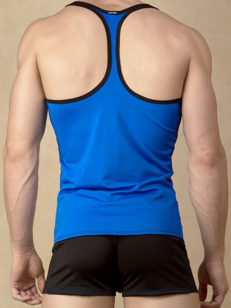 Men's soft blue yoga sports tank top