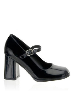 Men's shiny black high heel crossdressing shoe