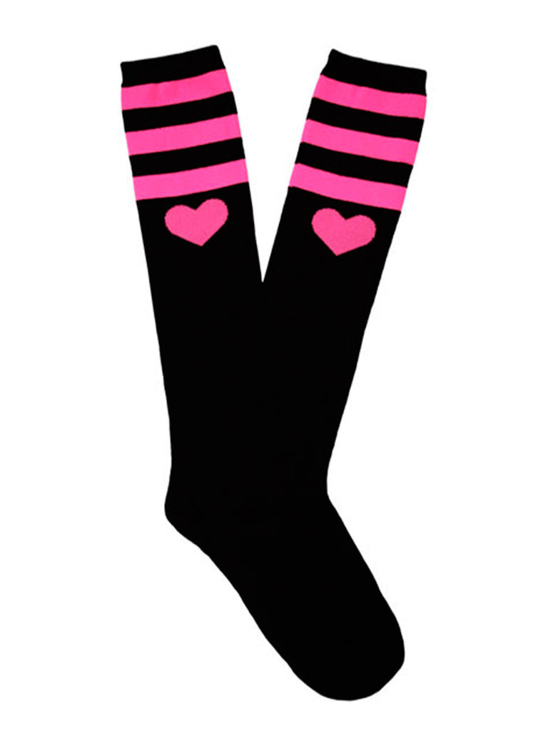 Men's pink and black stripe and Heart knee high socks