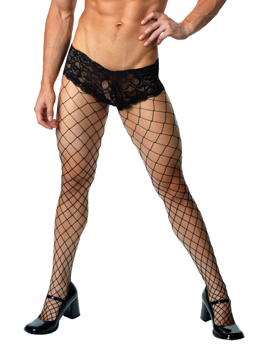 Men's black fishnet tights with lace panties