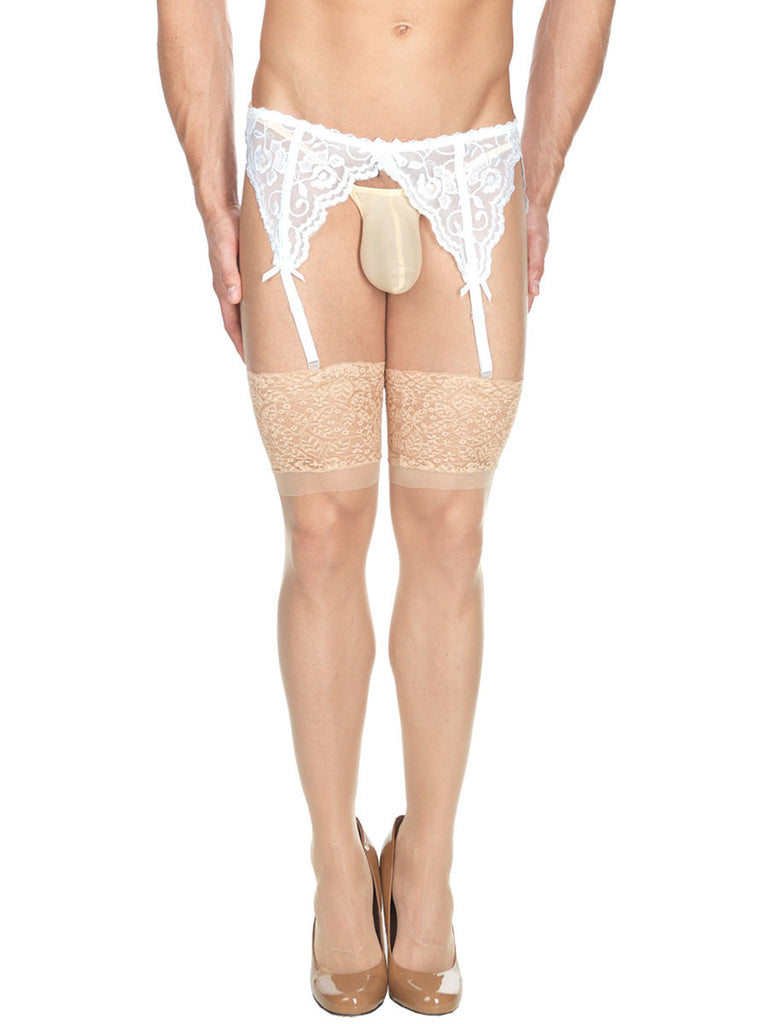 Men's white lace see through garter belt