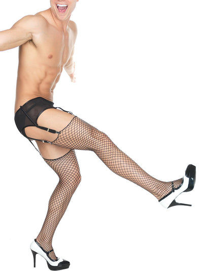 Men's black and white crossdressing high heels