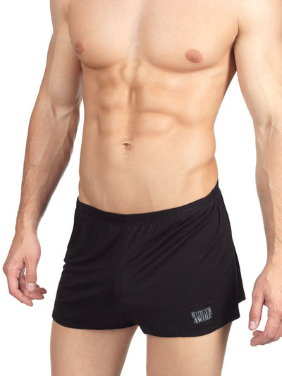 Men's black soft rayon short booty shorts