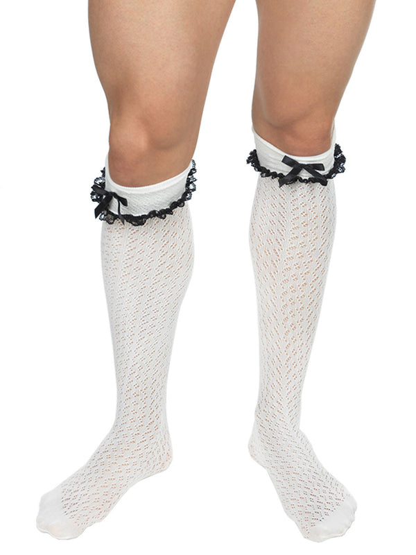 Men's Lace Crochet Knee Socks