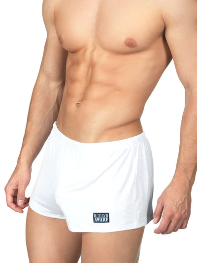 Men's white soft rayon short booty shorts