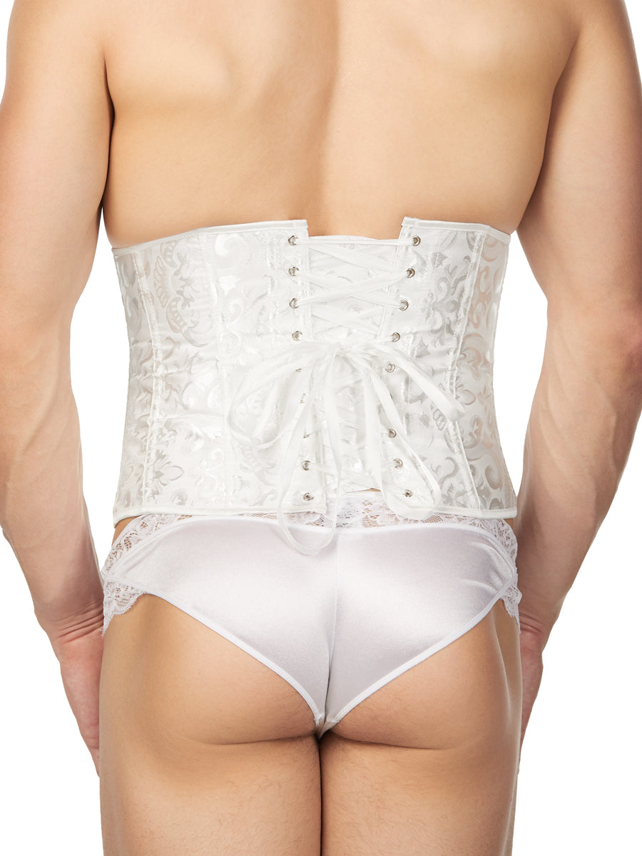 Men's white satin corset