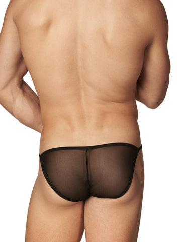 Men's black erotic mesh and lace see through tanga panties