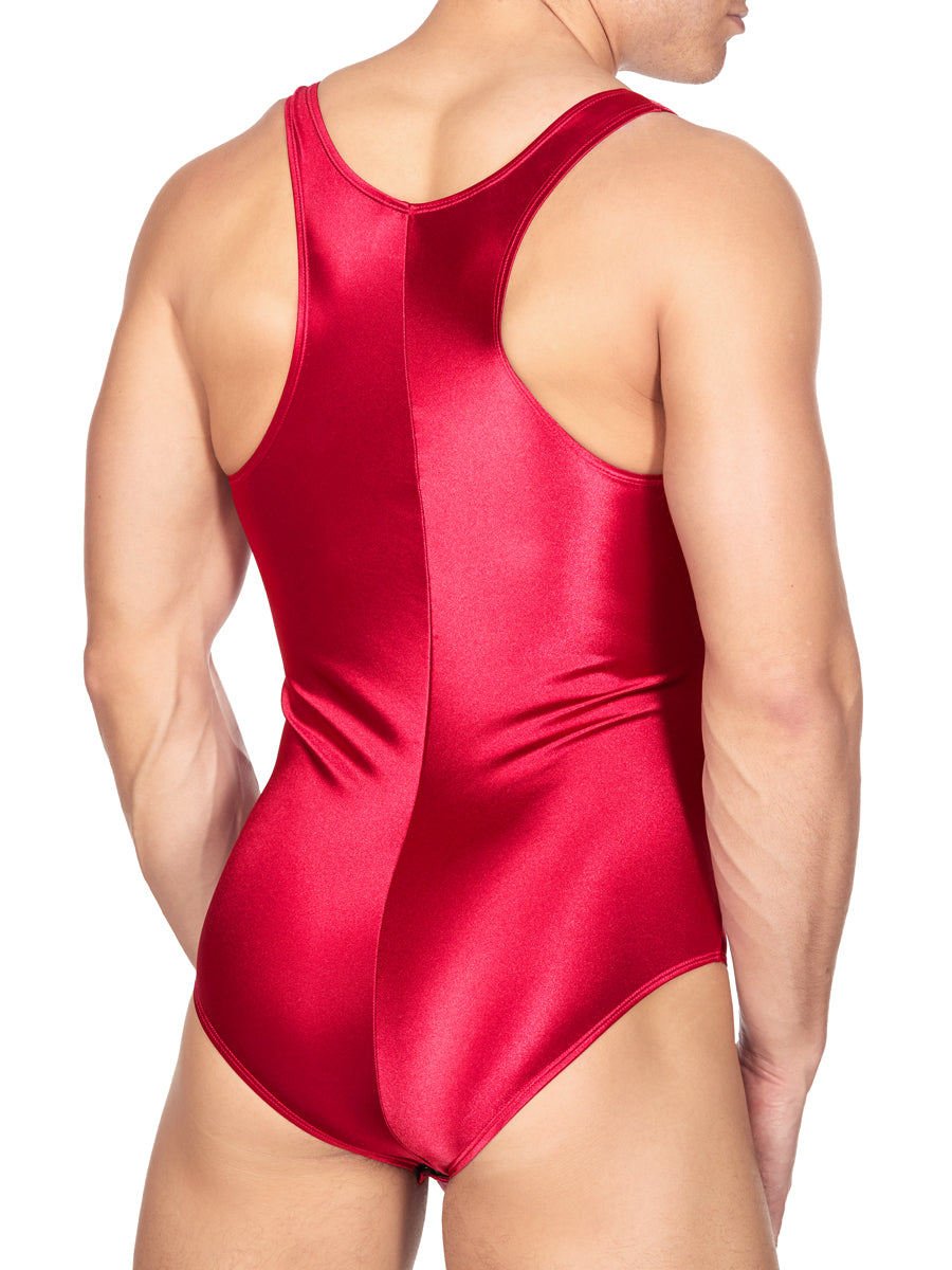 Men's white satin bodysuit leotard