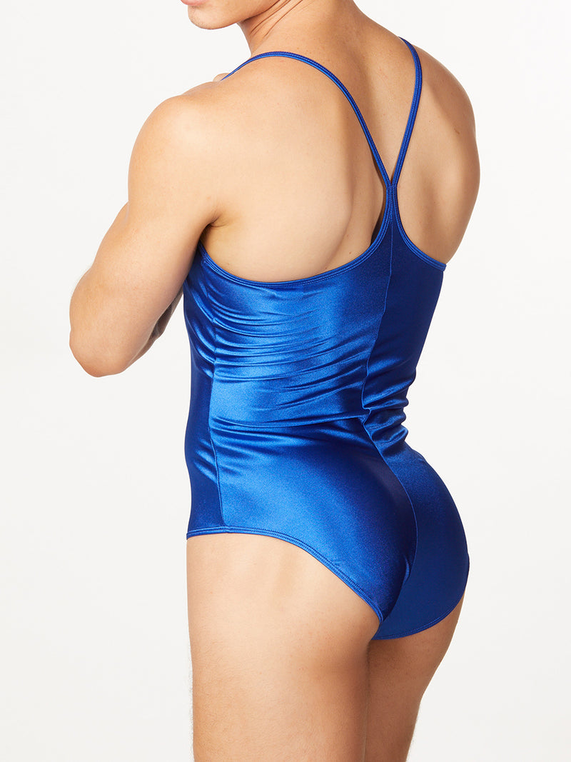 Men's blue satin bodysuit leotard
