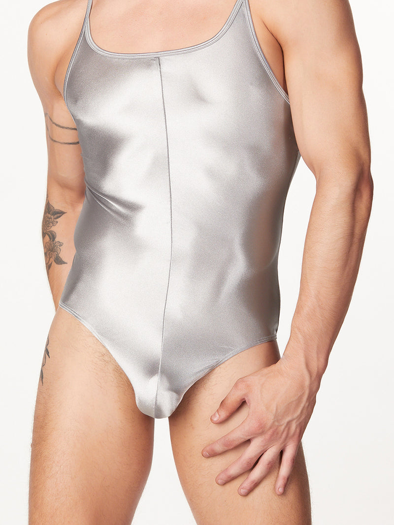 Men's silver satin bodysuit leotard