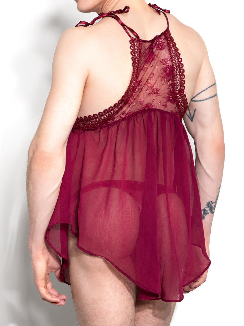 men's red chiffon nightie