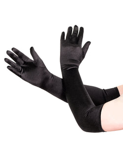 Men's black satin opera gloves