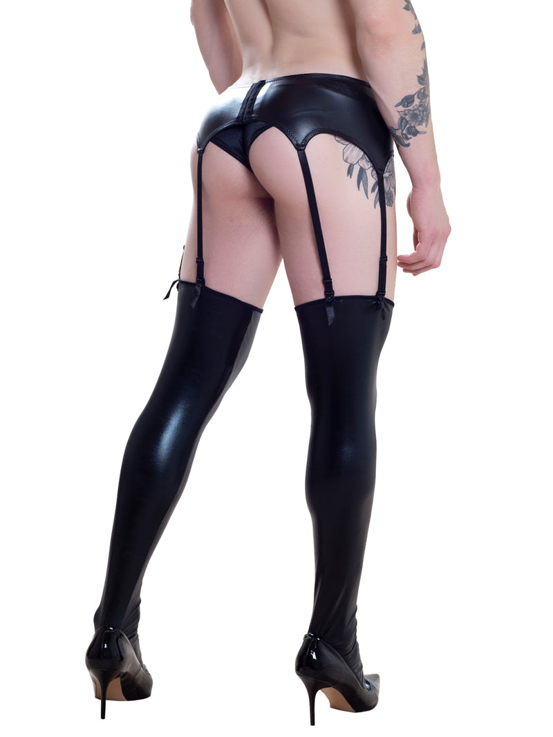 men's black pleather stockings
