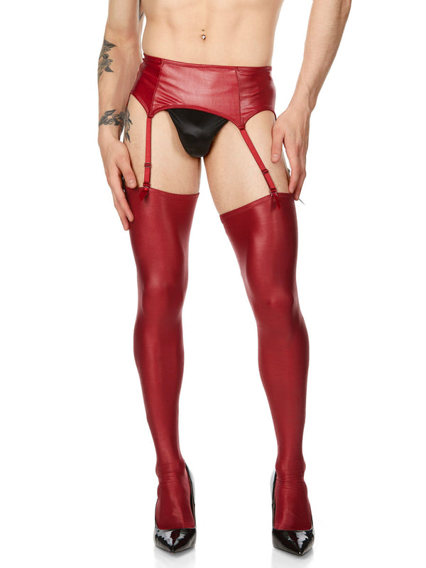men's red pleather stockings