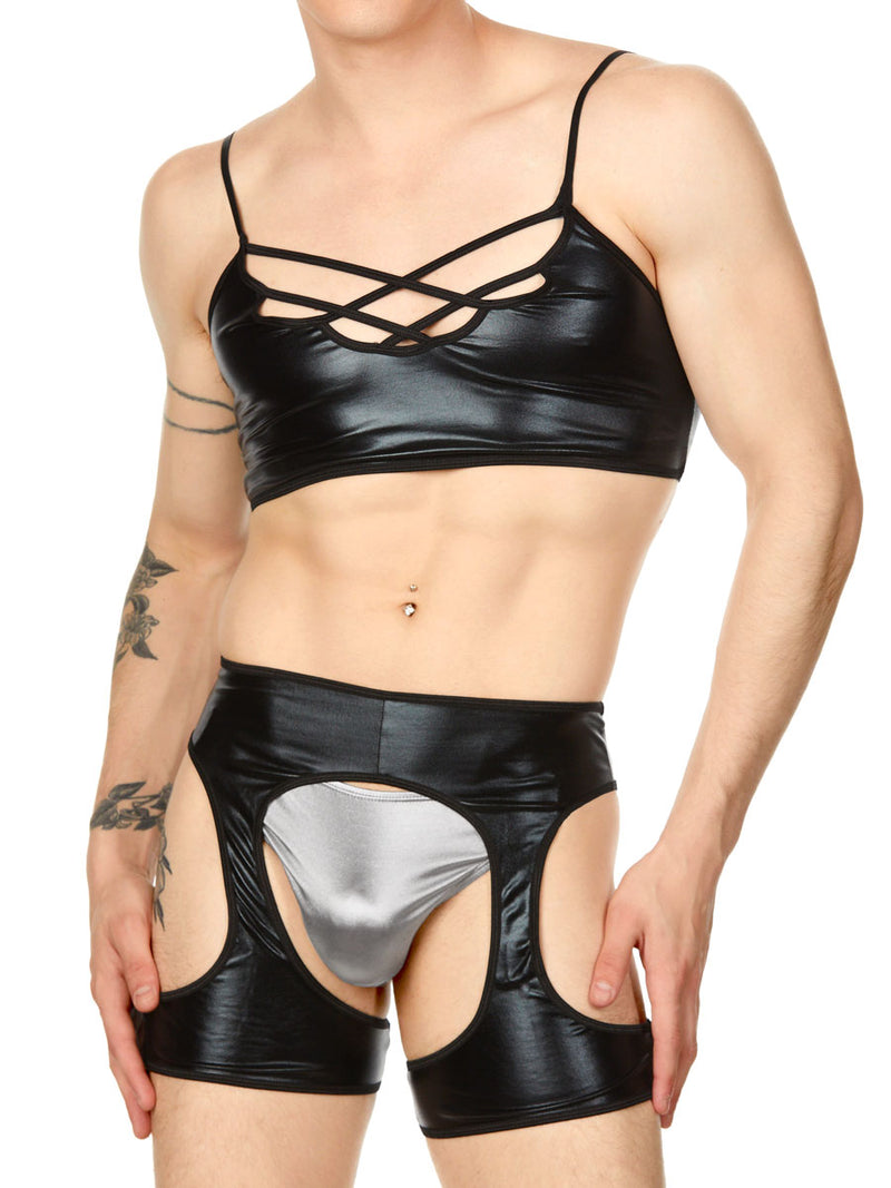 men's wet look bralette