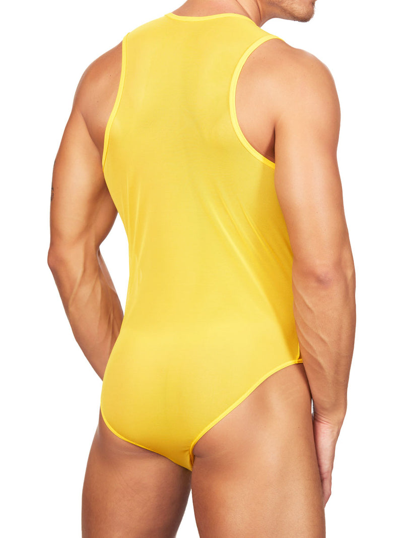 Men's yellow mesh bodysuit