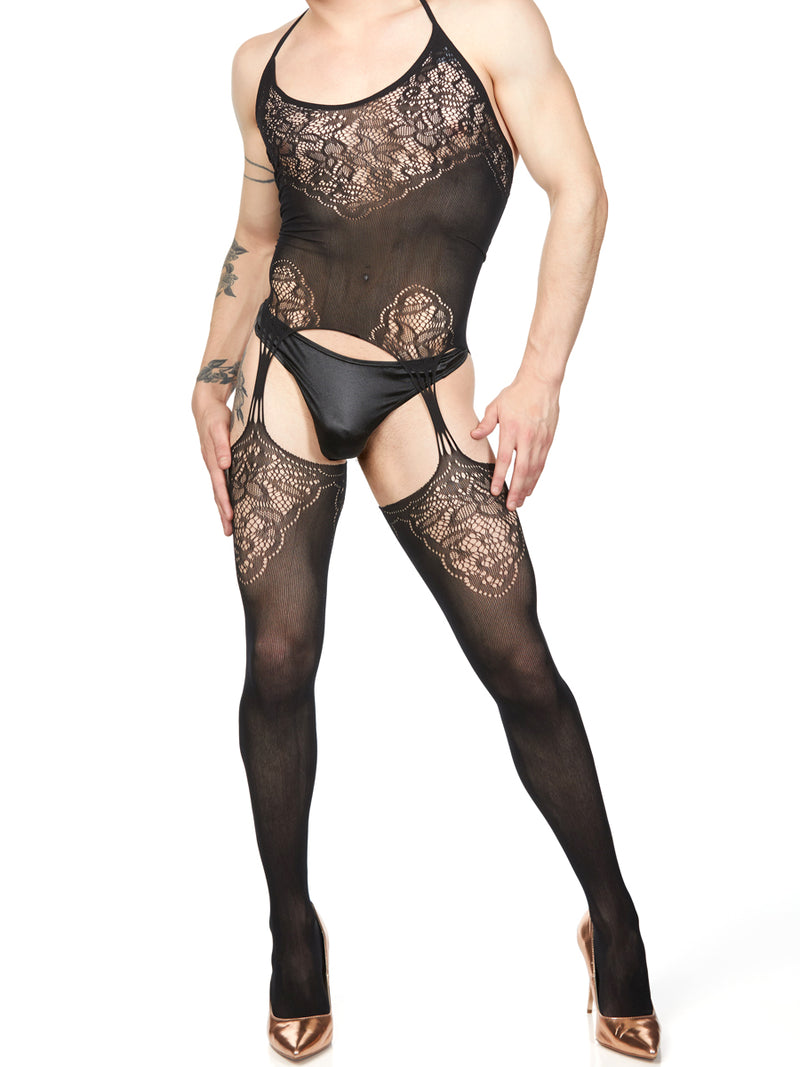 men's mesh garter belt body stocking