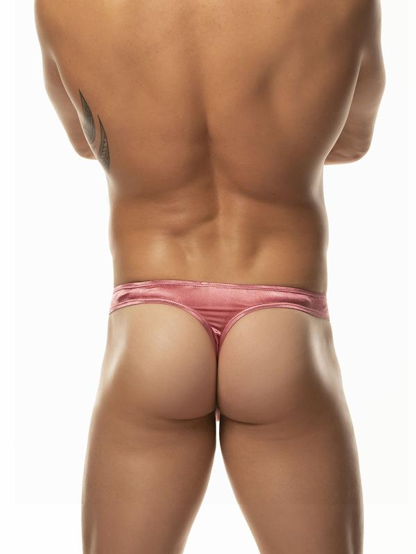 Men's pink satin thong underwear
